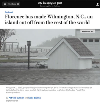 Washington Post Screenshot: Florence has made Wilmington, NC, an island cut off from the rest of the world